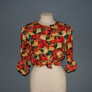 VINTAGE 80's Purse Scarf Print Blouse Top sz 12